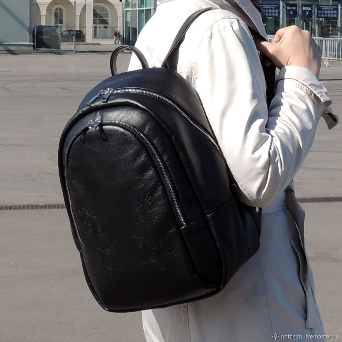 Backpack black leather women's Victoria Fashion R45t-711, Backpacks, St. Petersburg,  Фото №1