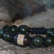 Amulet handmade. Livemaster - original item Men`s Shambhala bracelet with jade and JI bead. Handmade.
