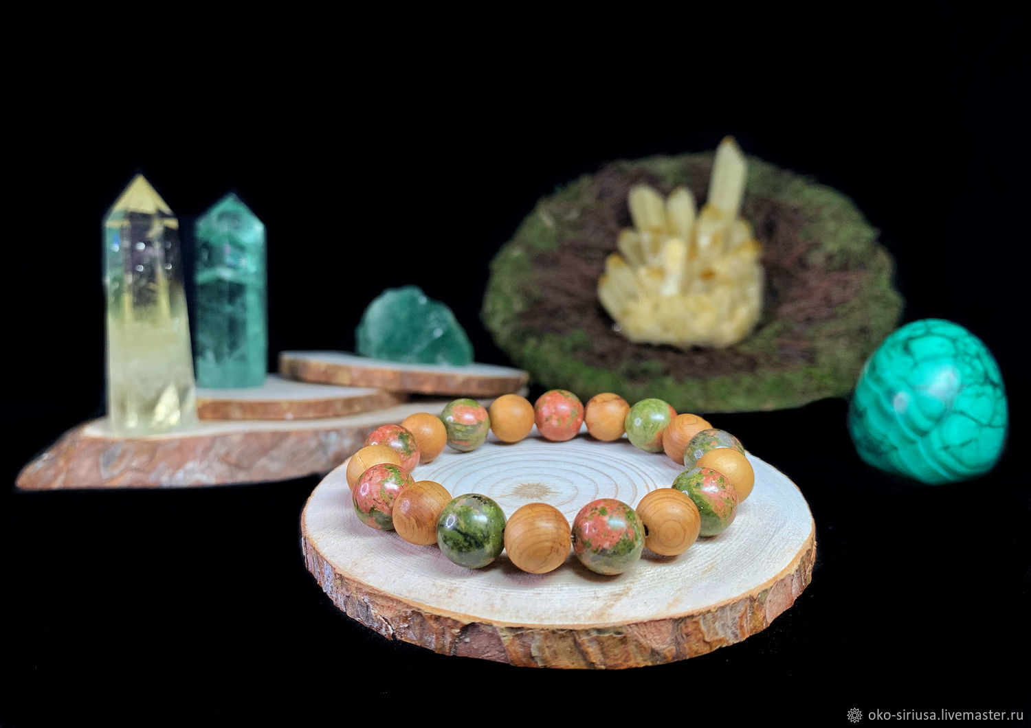 Bracelet made of natural Unakite and Juniper, Bead bracelet, Moscow,  Фото №1