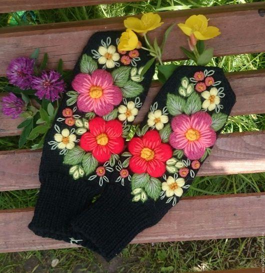 """Варежки, митенки, перчатки ручной работы. Ярмарка Мастеров - ручная работа. Купить Варежки """"краски лета"""". Handmade. Комбинированный, цветы"""