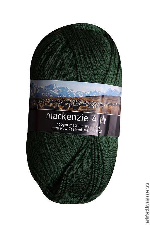 Вязание ручной работы. Ярмарка Мастеров - ручная работа. Купить Пряжа для вязания Маккензи, тёмно-зелёная; 100 гр.. Handmade.