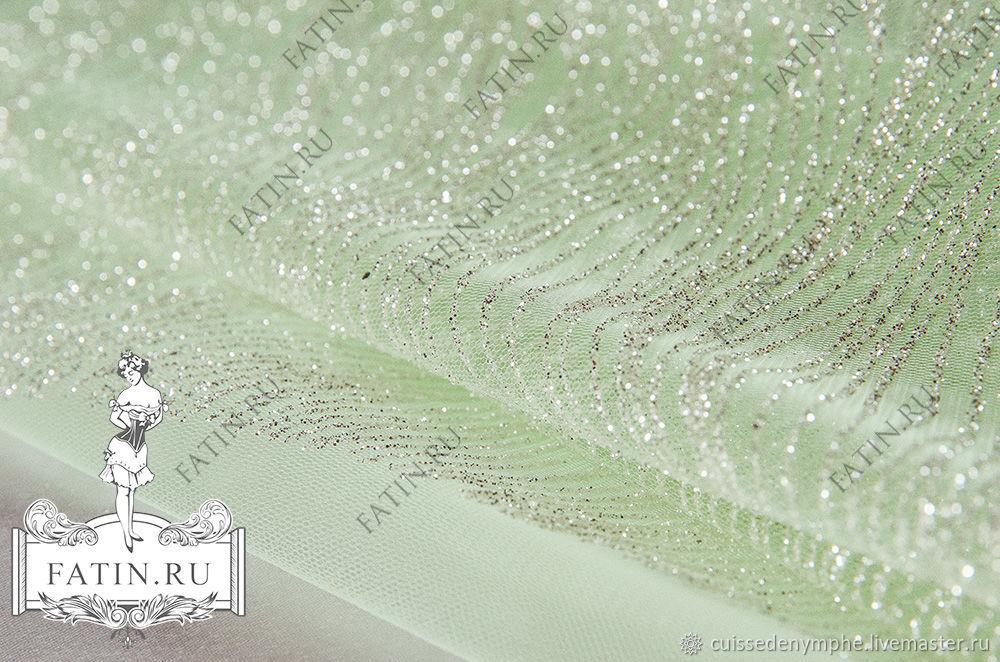 """Платиновый глиттер """"Волна"""" на салатовом фатине, 15040, Ткань, Москва, Фото №1"""