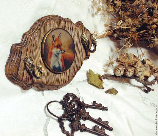 """Прихожая ручной работы. Ярмарка Мастеров - ручная работа. Купить Вешалка-ключница """"Охота на дичь"""". Handmade. Коричневый, вешалка в прихожую"""