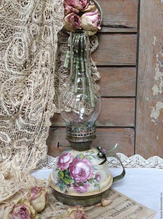 """Экстерьер и дача ручной работы. Ярмарка Мастеров - ручная работа. Купить Керосиновая лампа """"Винтажные розы"""". Handmade. Комбинированный, для дачи"""