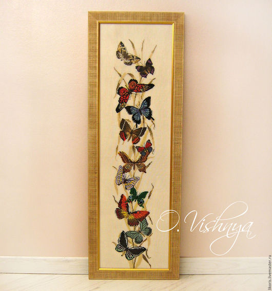 "Animal Painting handmade. Livemaster - handmade. Buy ""Butterflies"" Embroidered picture..Cross-stitch, butterfly, painting as a gift"