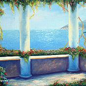 Картины и панно ручной работы. Ярмарка Мастеров - ручная работа Солнечная терраса - средиземноморский пейзаж картина маслом. Handmade.