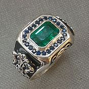 Украшения handmade. Livemaster - original item Silver man ring with emerald and sapphires. Handmade.