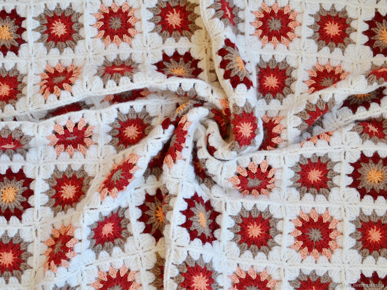 Плед вязаный детский Пэчворк бордовый серый оранжевый, Пледы для детей, Псков,  Фото №1