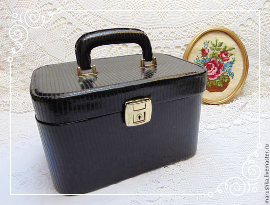 Винтажные сумки и кошельки. Ярмарка Мастеров - ручная работа. Купить Винтажный сундучок для косметики, Австрия. Handmade. Черный, органайзер для косметики