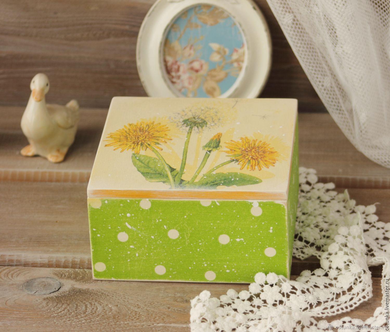 Jewelry box wood decoupage storage Dandelions, Box, Sokol,  Фото №1