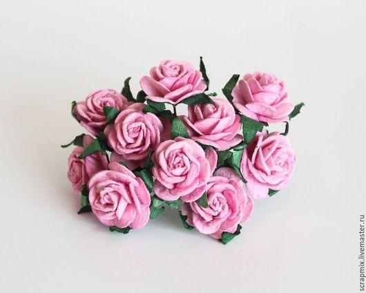 Открытки и скрапбукинг ручной работы. Ярмарка Мастеров - ручная работа. Купить Цветы розы 20 мм цвет розовый. Handmade.