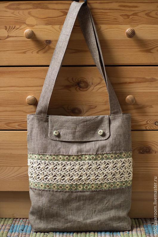 Женские сумки ручной работы. Ярмарка Мастеров - ручная работа. Купить Льняная сумка с клапаном. Handmade. Серый, летнее, лен
