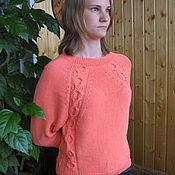 Одежда ручной работы. Ярмарка Мастеров - ручная работа Пуловер вязаный женский  (джемпер)  с регланными косами. Handmade.