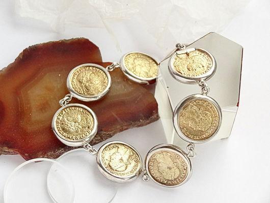 """Браслеты ручной работы. Ярмарка Мастеров - ручная работа. Купить Браслет """"Монеты"""" из серебра. Handmade. Золотой, модный браслет, серебро"""