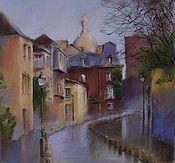 Картины и панно handmade. Livemaster - original item Urban landscape of Paris Montmartre (red-brown purple street). Handmade.