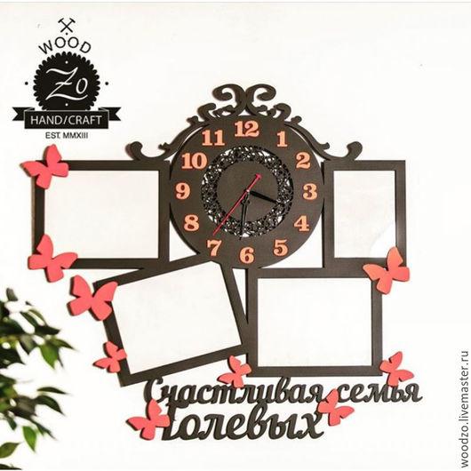 """Часы для дома ручной работы. Ярмарка Мастеров - ручная работа. Купить Часы с фоторамками """"Бабочки"""". Handmade. Коричневый, красный, часы"""