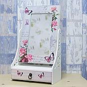Для дома и интерьера ручной работы. Ярмарка Мастеров - ручная работа Зеркало с ящиком для украшений или мелочей - Розовые мечты. Handmade.