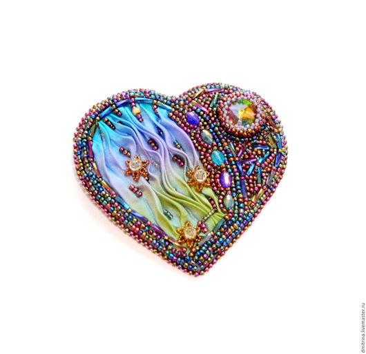 Брошь с шибори лентой, кулон с шибори лентой, брошь трансформер с шибори лентой, брошь сердце, кулон сердце, нарядная брошь, нарядный кулон