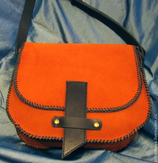 Женские сумки ручной работы. Ярмарка Мастеров - ручная работа. Купить Рыжая сумочка. Handmade. Рыжий, сумка из замши