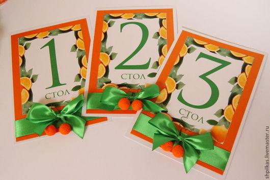 Свадебные аксессуары ручной работы. Ярмарка Мастеров - ручная работа. Купить Номерки для столов на апельсиновую свадьбу. Handmade. Оранжевый