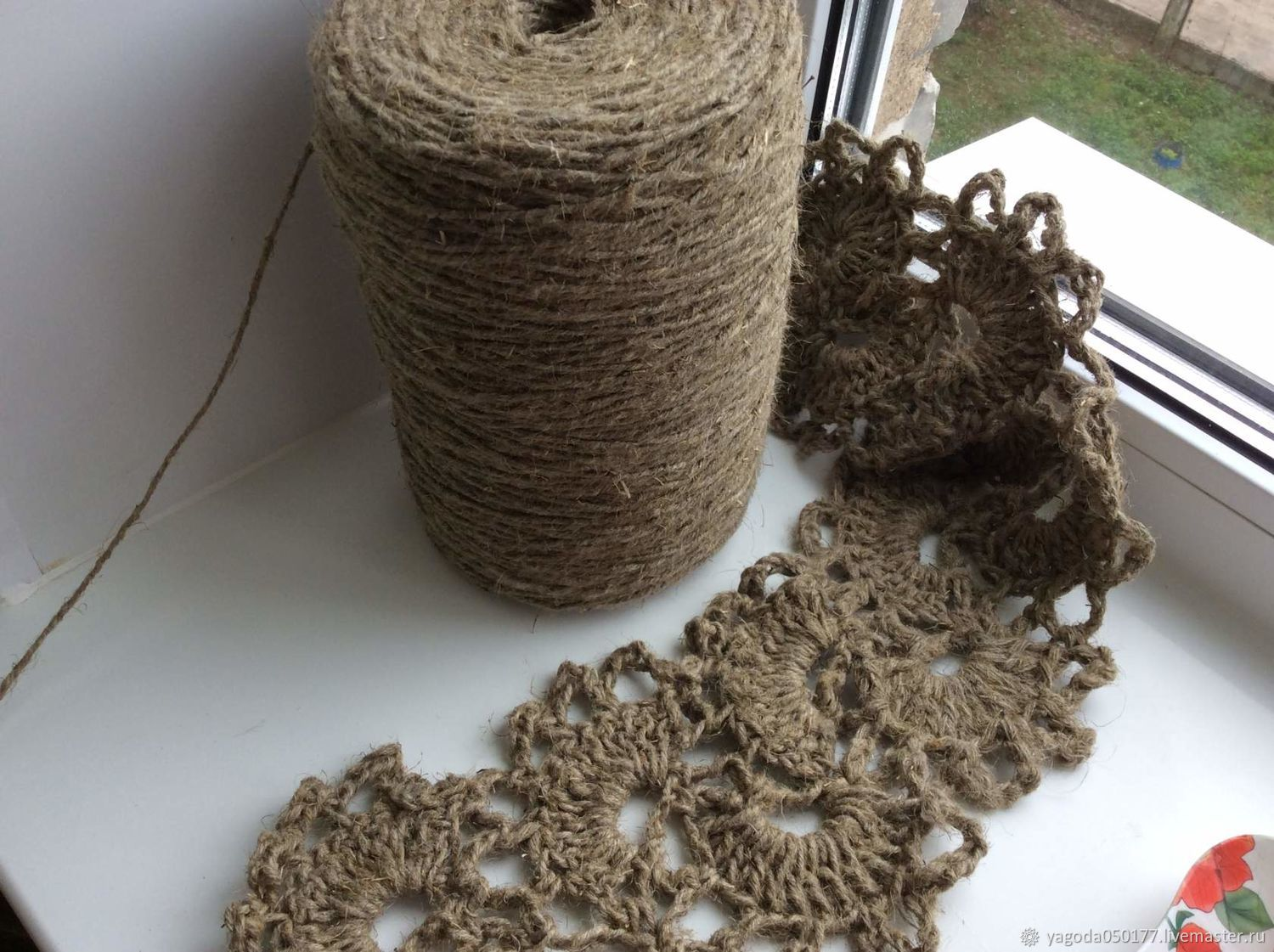 Linen yarn for knitting, eco carpets.in the style of ...
