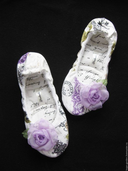 """Обувь ручной работы. Ярмарка Мастеров - ручная работа. Купить балетки домашние """" Тайное послание""""37  Женские тапочки для дома. Handmade."""