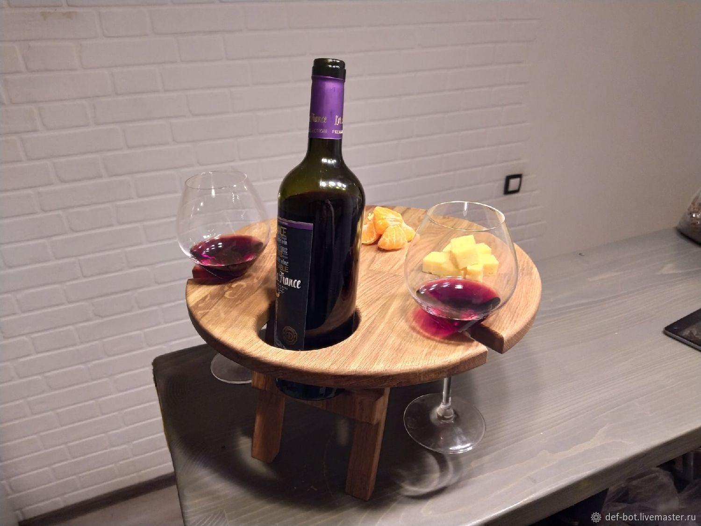 Винный столик круглый из дуба на 2 персоны, Подносы, Калининград,  Фото №1