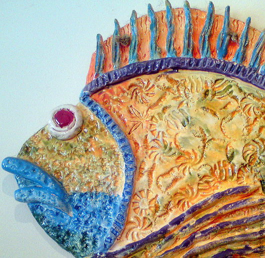 Животные ручной работы. Ярмарка Мастеров - ручная работа. Купить Панно керамическое  Рыба Ерш. Handmade. Рыба, разноцветный, Керамика