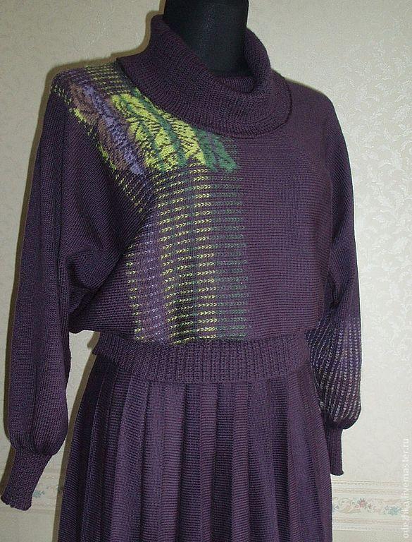 вязаный свитер с розами фиолетовый купить в интернет магазине на