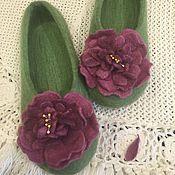Обувь ручной работы. Ярмарка Мастеров - ручная работа Тапочки Пионы. Handmade.