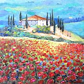 Картины и панно handmade. Livemaster - original item Oil painting Poppies in the Tuscan hills. Handmade.