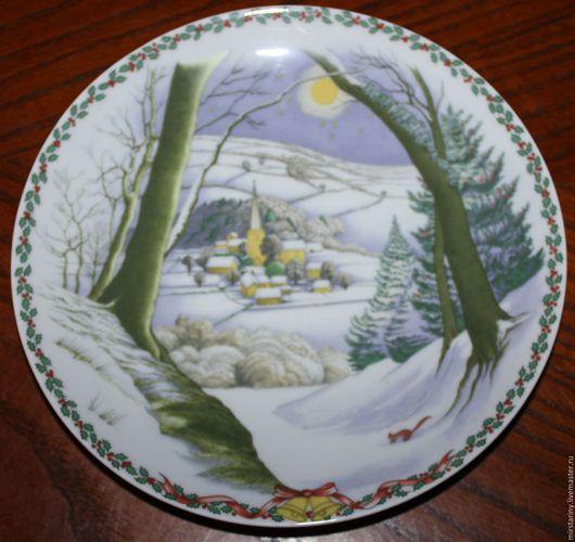 """Винтажные предметы интерьера. Ярмарка Мастеров - ручная работа. Купить Красивая, рождественская тарелка """"Зимнее утро"""", Rosenthal, Германия. Handmade."""