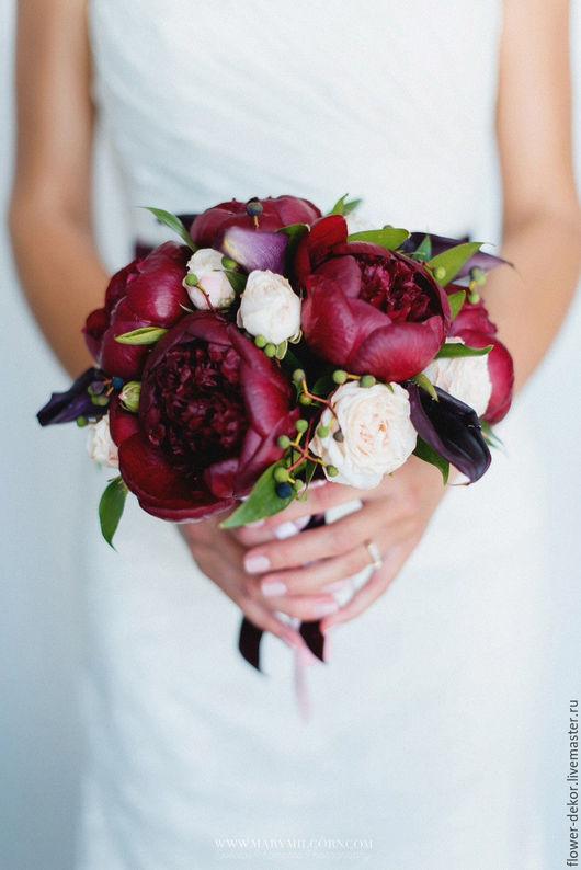 """Букеты ручной работы. Ярмарка Мастеров - ручная работа. Купить Букет невесты из пионов """" Бордо"""". Handmade. Бордовый, розовый"""