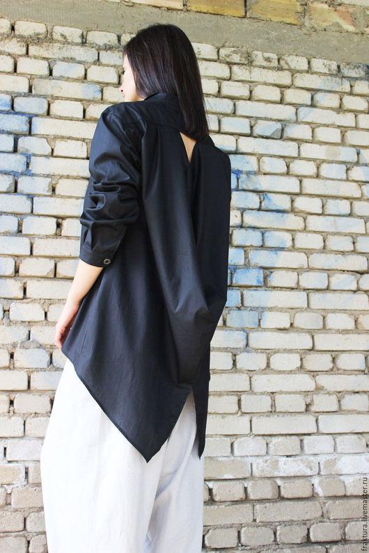 Блузки ручной работы. Ярмарка Мастеров - ручная работа. Купить Экстравагантная рубашка- черная B0014. Handmade. Черный, топ