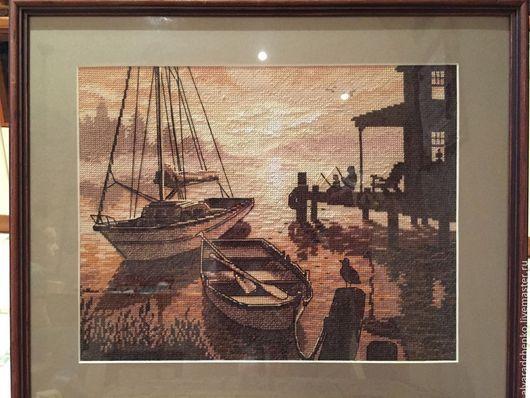 Пейзаж ручной работы. Ярмарка Мастеров - ручная работа. Купить Вечерняя рыбалка вышитая картина. Handmade. Бежевый, лодка, море