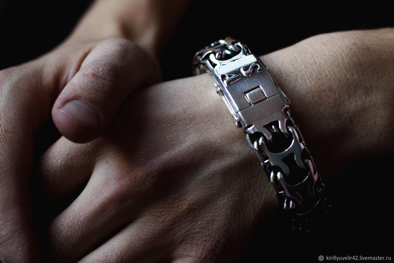 Bracelet weaving 'Ramses or Reverse Bismarck' with a box of silver, Braided bracelet, Kemerovo,  Фото №1