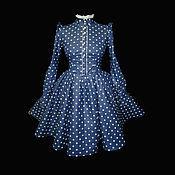 """Одежда ручной работы. Ярмарка Мастеров - ручная работа Платье """"винтажное в Горох"""" в повторе из американского хлопка. Handmade."""