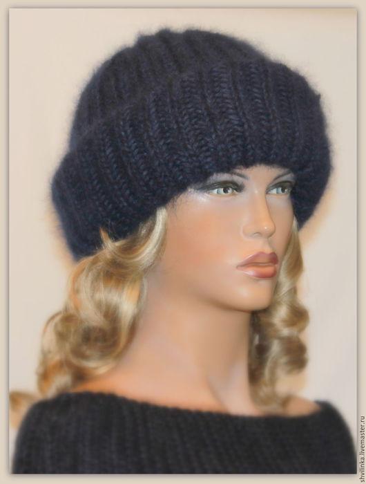 """Шапки ручной работы. Ярмарка Мастеров - ручная работа. Купить """"А-ля"""" шапка вязаная тёмно-синяя. Handmade. шапочка"""