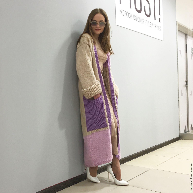 вязаное пальто с карманами купить в интернет магазине на ярмарке