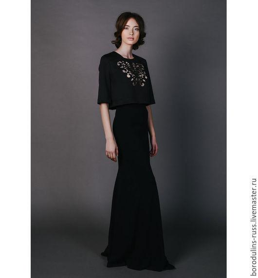 """Блузки ручной работы. Ярмарка Мастеров - ручная работа. Купить Блуза """"Ночной Notre-Dame"""". Handmade. Черный, кроп топ"""