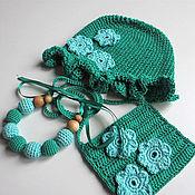 Работы для детей, ручной работы. Ярмарка Мастеров - ручная работа Подарок для девочки 2годика: вязаные шапочка, сумочка и бусы. Handmade.
