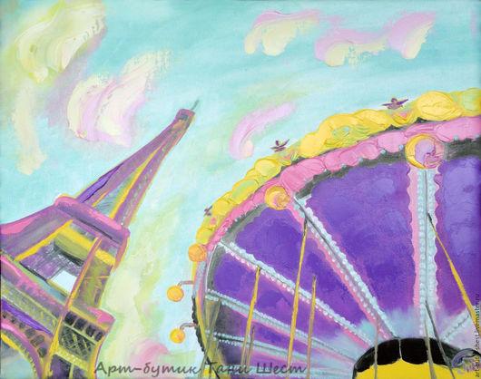 """Город ручной работы. Ярмарка Мастеров - ручная работа. Купить Картина маслом """"Париж в красках"""" холст 40х50 см. Handmade."""