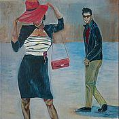 """Картины и панно ручной работы. Ярмарка Мастеров - ручная работа Картина маслом """"Рождение..."""" картина. картина мужчина и женщина. шляпа. Handmade."""