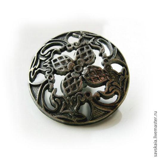 Пуговицы металлические, античное серебро, с узором Цветок  28.0мм