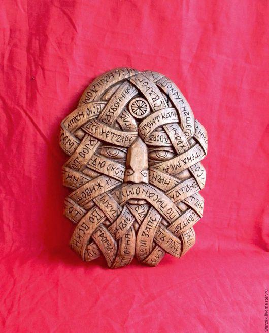 Авторский оберег `Сварог` с текстом заговора для защиты дома и семьи из ореха.
