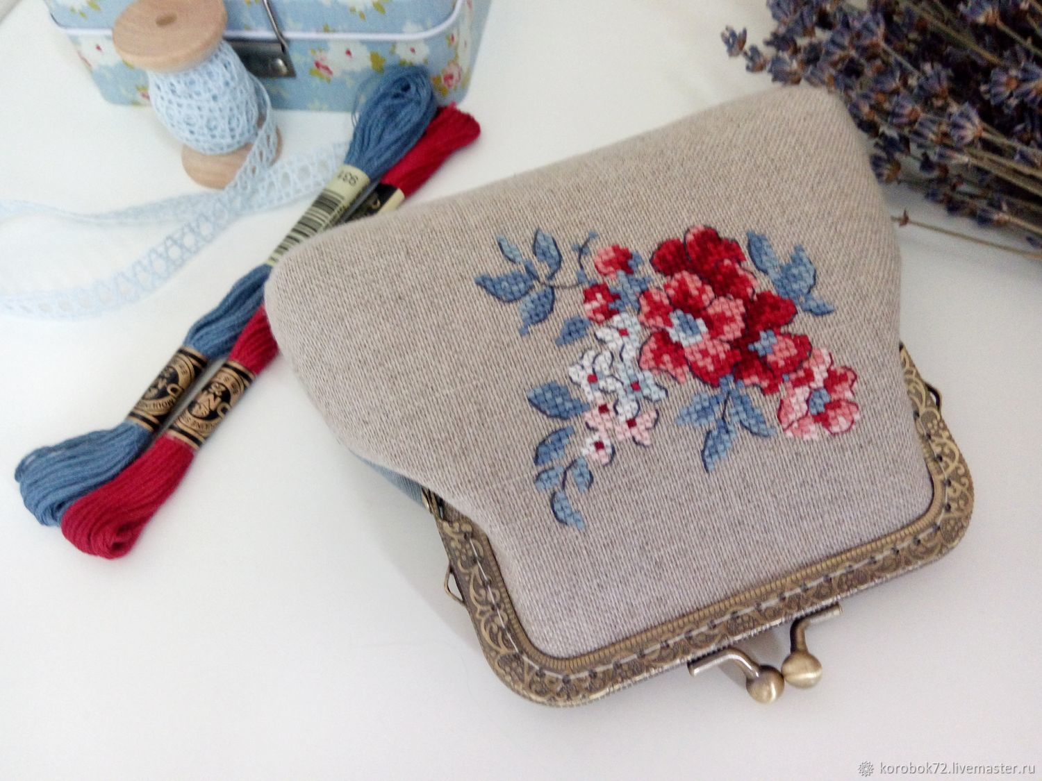 Cosmetic bag with Clasp hand cross-stitch, Beauticians, St. Petersburg,  Фото №1
