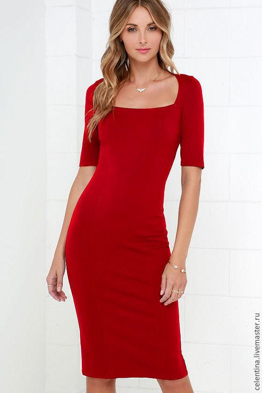 платье футляр, стильное платье, платье в офис, трикотажное платье, платье на каждый день, повседневное, однотонное, короткое платье, деловое платье, красное платье футляр, теплое платье, 17 расцветок!