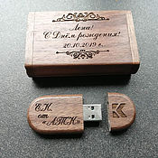 Сувениры и подарки handmade. Livemaster - original item Wooden flash drive with engraving, 32 GB memory card, souvenir. Handmade.