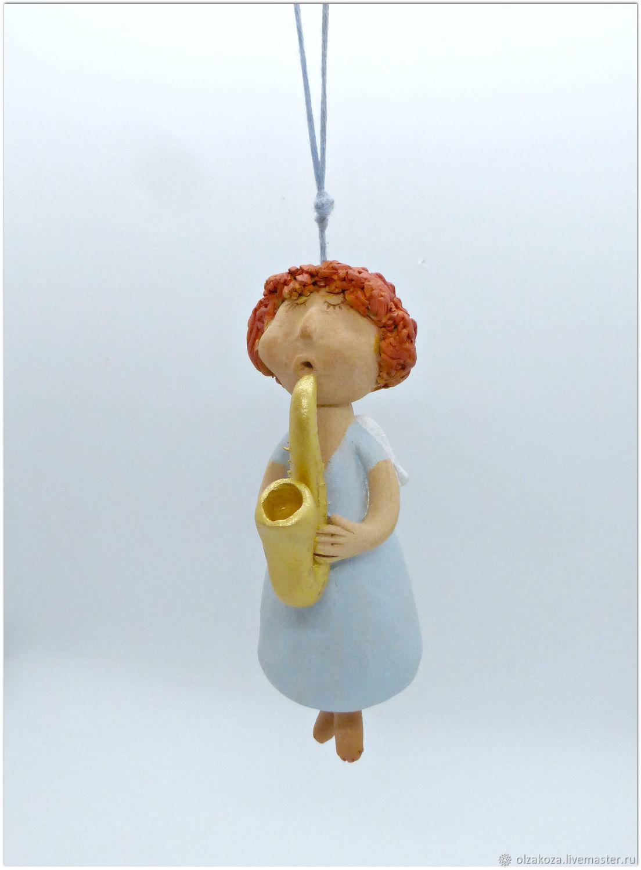 Ангел с саксофоном. Колокольчик. Керамика, Колокольчики, Санкт-Петербург,  Фото №1