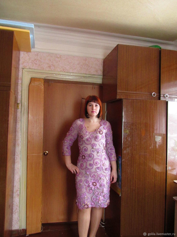 Платья ручной работы. Ярмарка Мастеров - ручная работа. Купить Платье 'Лиловая дымка'. Handmade. Вязание крючком, фиолетовый